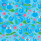 Blue Birds Flower Bloom Seamless Pattern_eps Stock Photo