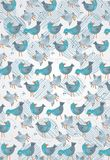 Blue birds with a fly abstract background Royalty Free Stock Images
