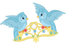 Blue Birds and Tiara. Cute Little Blue Birds and Tiara royalty free illustration