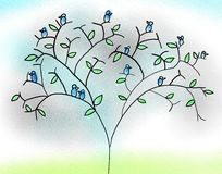 Blue Birds On Tree Royalty Free Stock Images