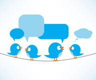 Blue birds on wire. Blue birds sitting on white with speaking bubbles, vector illustration, eps9 Stock Image