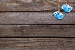 Blue birds on wooden background. Stock Photos
