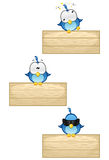 Blue Birds on Wooden Sign - Set 2 Stock Photos