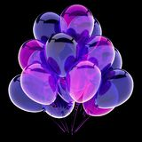 Blue birthday balloons bunch colorful purple vector illustration