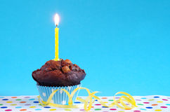 Blue birthday cake Royalty Free Stock Photography