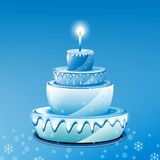 Blue Birthday Cake Stock Image