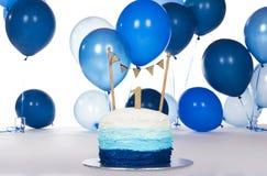 Blue birthday cake Royalty Free Stock Photo