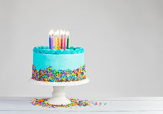 Blue Birthday Cake Royalty Free Stock Photos