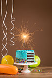 Blue Birthday Cake Stock Photography