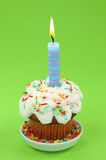 Blue birthday candle Stock Image