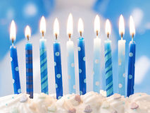 Blue birthday candles royalty free stock photo