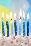 Blue birthday candles Stock Photos