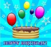 Blue birthday card vector illustration