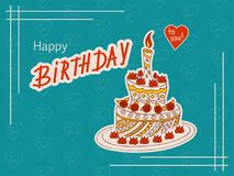 Blue birthday card with doodle cake and heart Stock Photos