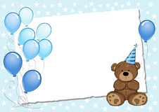 Blue Birthday Card With Teddy Bear Royalty Free Stock Image