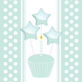 Blue birthday cupcake background Royalty Free Stock Photography