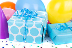 Blue Birthday Gifts Royalty Free Stock Image