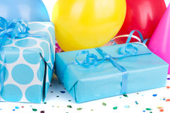 Blue Birthday Gifts Royalty Free Stock Photos