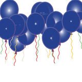 Blue Birthday Party Ballons. 3D coloured Blue ballons with coloured cords Royalty Free Stock Photography
