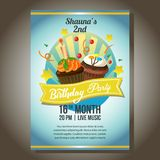 Blue birthday party invitation poster with cupcakes. Additional file in vector eps 10 file Stock Photos