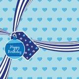 Blue birthday ribbon royalty free illustration
