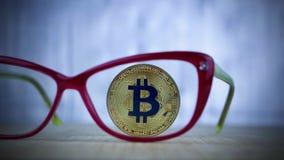 Blue bitcoin coin Royalty Free Stock Photography