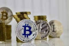 Blue bitcoin coin Royalty Free Stock Photo