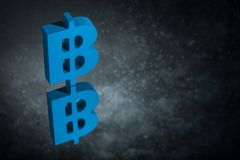 Blue Bitcoin Currency Symbol With Mirror Reflection on Dark Dusty Background royalty free illustration