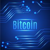 Blue bitcoin digital currency concept on circuit board. Royalty Free Stock Images