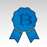 Blue bitcoin ribbon. Vector illustration of blue colored bitcoin cryprocurrency ribbon emblem Royalty Free Stock Photography