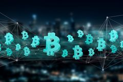 Blue bitcoin symbol displayed on a city background - 3D renderin. View of a Blue bitcoin symbol displayed on a city background - 3D rendering Stock Photos