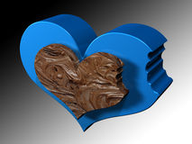 BLUE BITTEN HEART.jpg. Illustration of a blue heart with a side bit and a bitten chocolate inside Stock Image