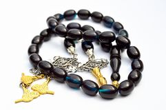 Blue Black And Silver Gold Beads Sequenced, Short Rosary, Tespih Tesbih Stock Photos
