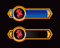 Blue and black arrow banners with red dice Royalty Free Stock Photography