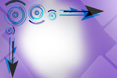 blue and black arrow and circles, abstract background Stock Photo
