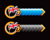 Blue and black arrows with british flags stock illustration