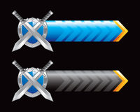 Blue and black arrows with swords and shield Stock Images