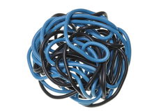 Blue and black ball of copper cord Stock Photography