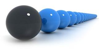 Blue and black billiard balls arrangement. Close-up shot on a line of blue billiard balls and a black one Stock Image