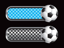 Blue and black checkered banners with soccer ball Royalty Free Stock Images