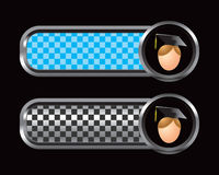 Blue and black checkered tabs with male graduate Stock Image
