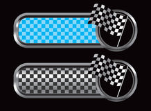 Blue and black checkered tabs with racing flag Stock Photography