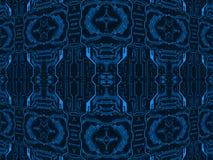 Blue on black circuit board.Symmetrical technology background. Stock Photos