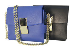 Blue and black clutch bags Royalty Free Stock Images
