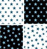 Blue & Black Color Nautical Star Aligned & Random Seamless Pattern Set Stock Photos