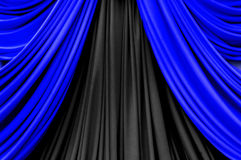 Blue and black curtain on stage Stock Photo