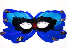 Blue and Black Feather Mask Royalty Free Stock Images