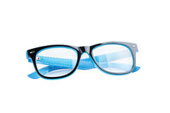 Blue and black Frame Of Eye Glasses Isolated On White Background Royalty Free Stock Photography