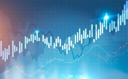 Blue and black glowing growing graphs. Abstract glowing growing graphs against a blurred blue background. Concept of trading and stock market. Toned image double Royalty Free Stock Image