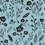 Blue and black hand drawn flowers seamless pattern stock illustration